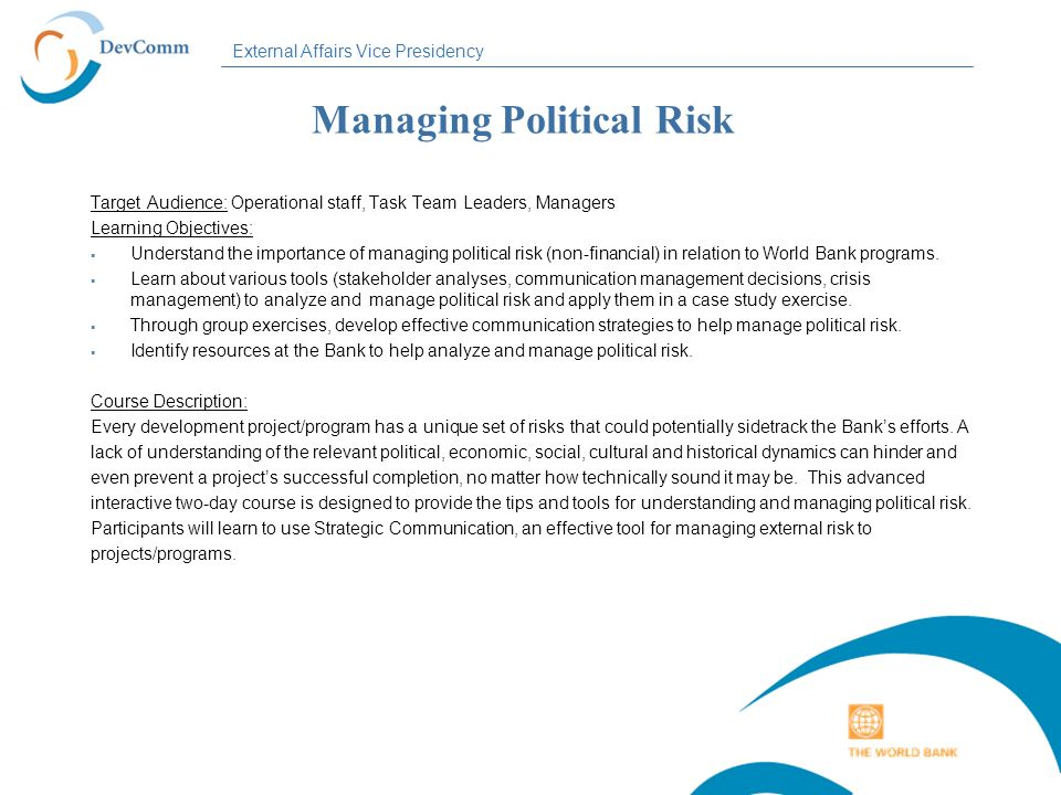 Managing Political Risk