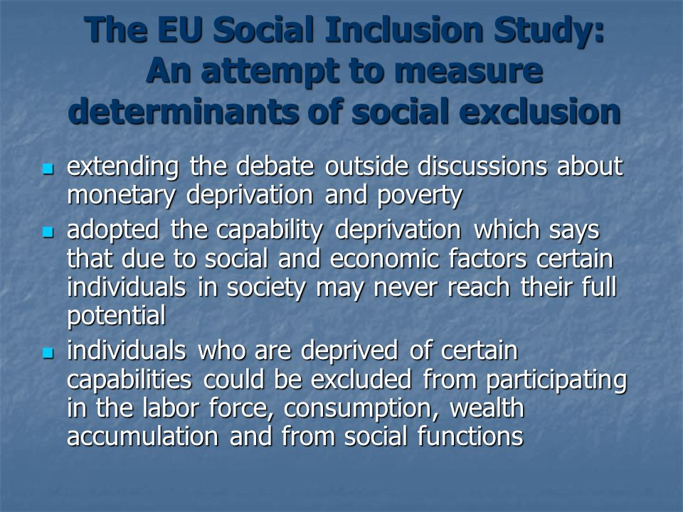 The EU Social Inclusion Study: An attempt to measure determinants of social exclusion
