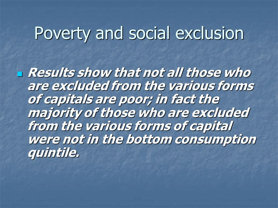 Poverty and social exclusion