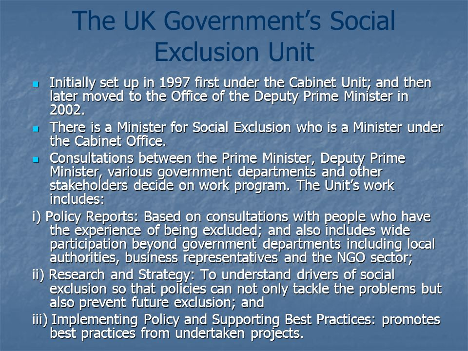 The UK Government's Social Exclusion Unit