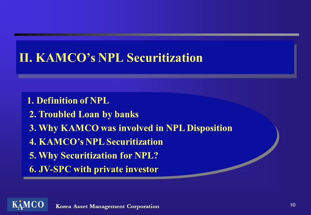 II. KAMCO's NPL Securitization