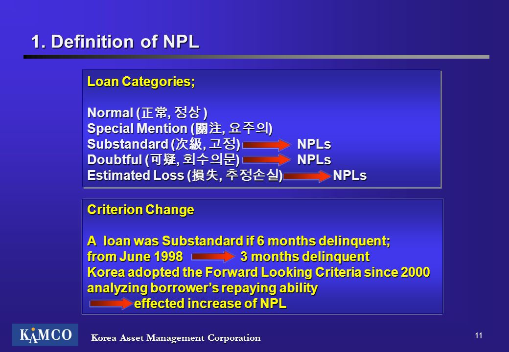 1. Definition of NPL Loan Categories; Normal (正常, 정상 )