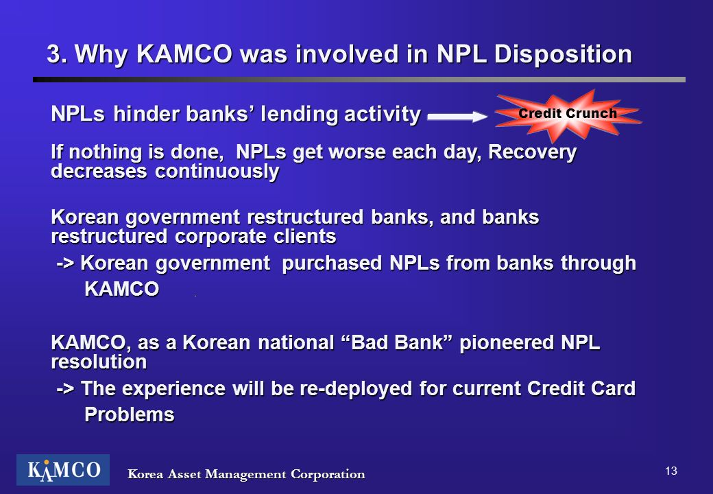 3. Why KAMCO was involved in NPL Disposition