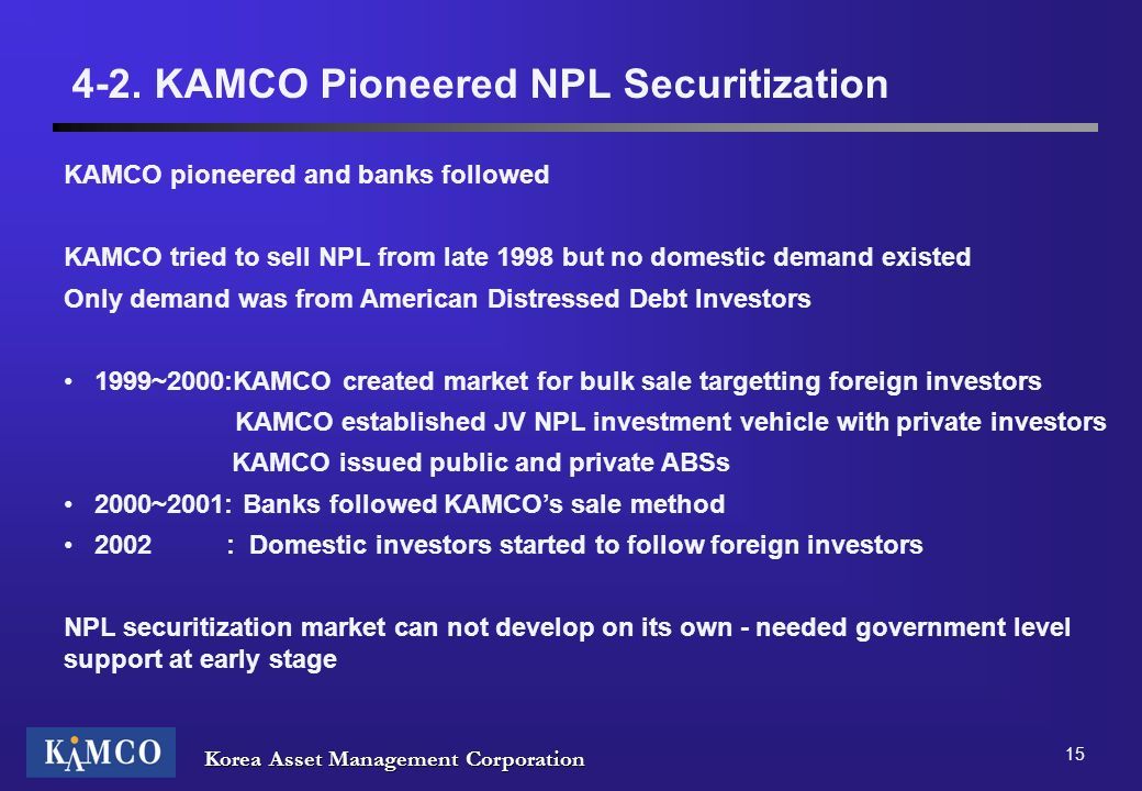 4-2. KAMCO Pioneered NPL Securitization