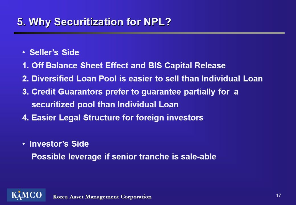 5. Why Securitization for NPL