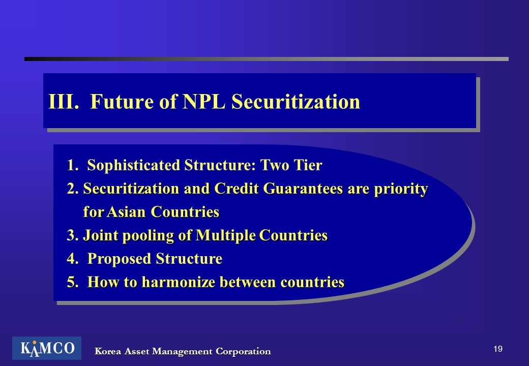 III. Future of NPL Securitization