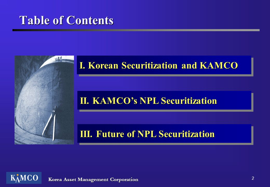 Table of Contents I. Korean Securitization and KAMCO