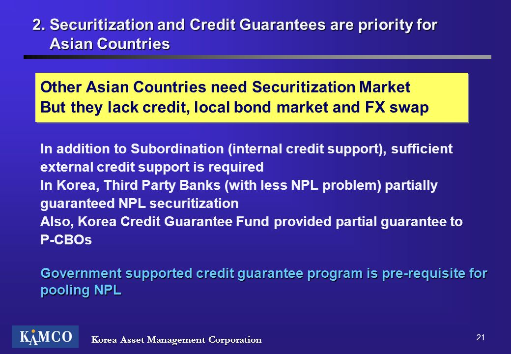 Other Asian Countries need Securitization Market