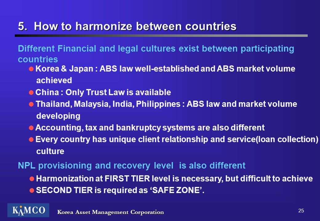 5. How to harmonize between countries