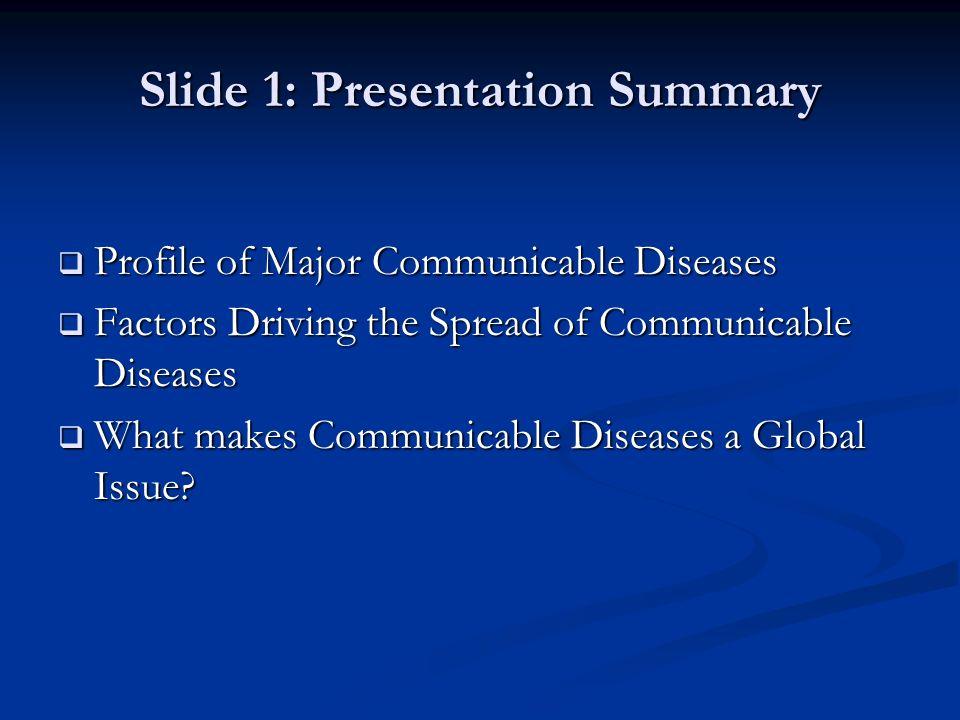Slide 1: Presentation Summary