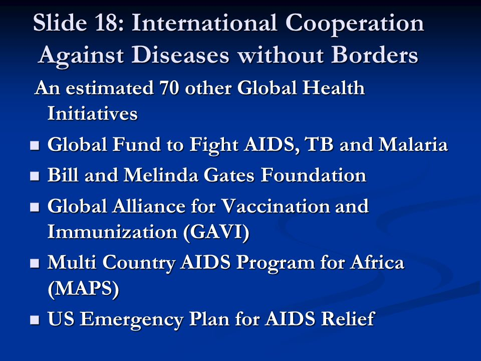 Slide 18: International Cooperation Against Diseases without Borders