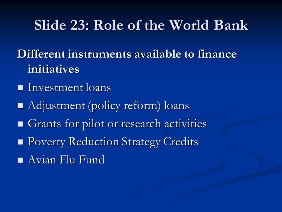 Slide 23: Role of the World Bank