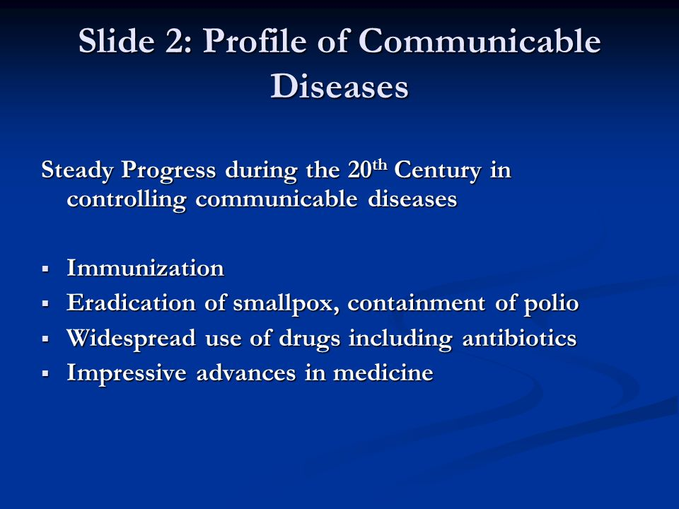 Slide 2: Profile of Communicable Diseases