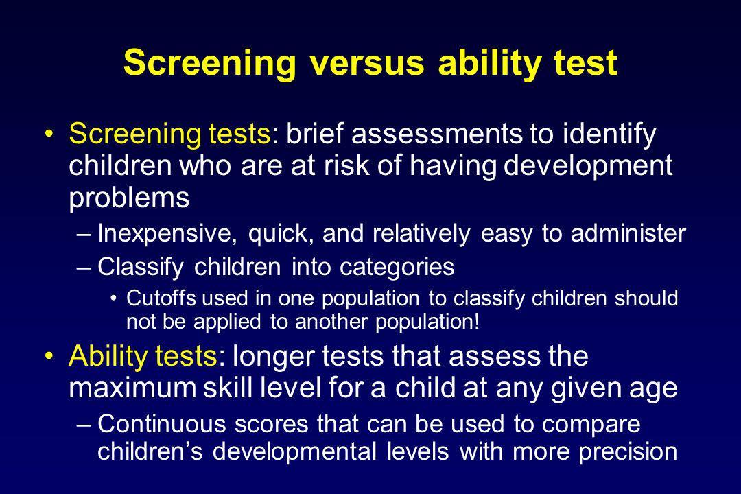 Screening versus ability test