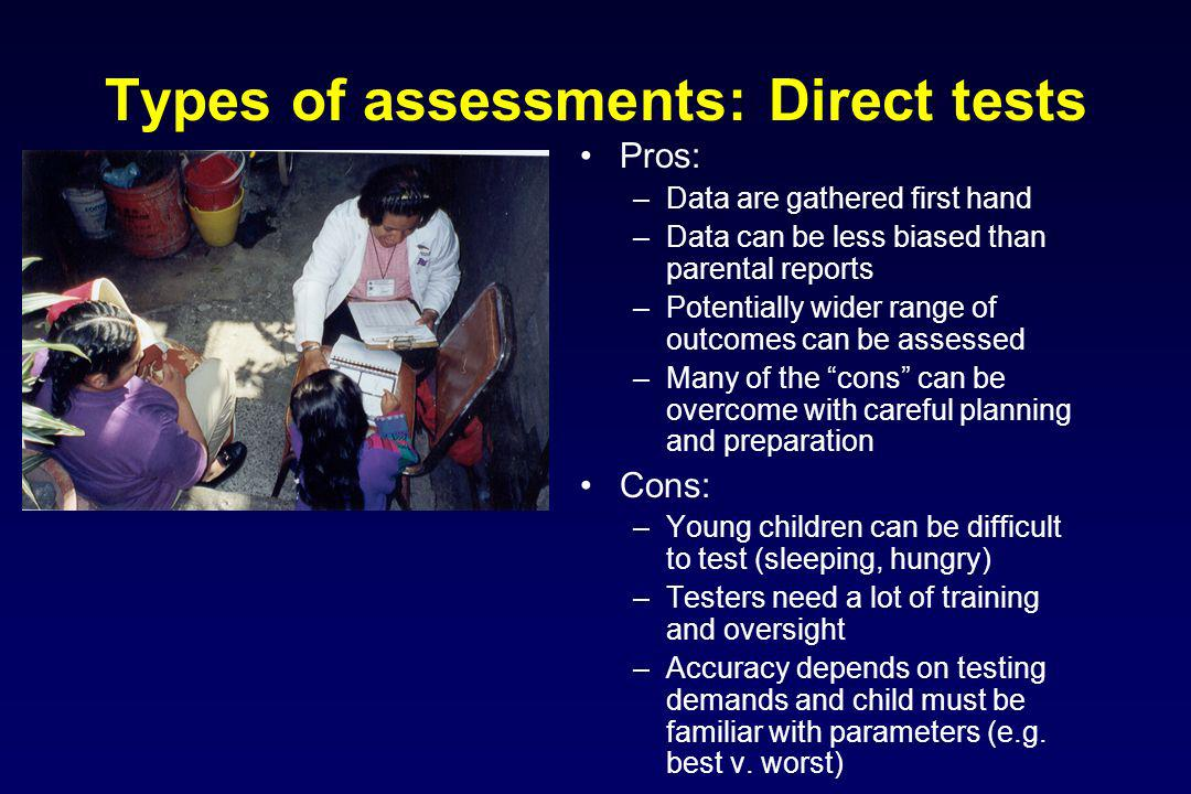 Types of assessments: Direct tests