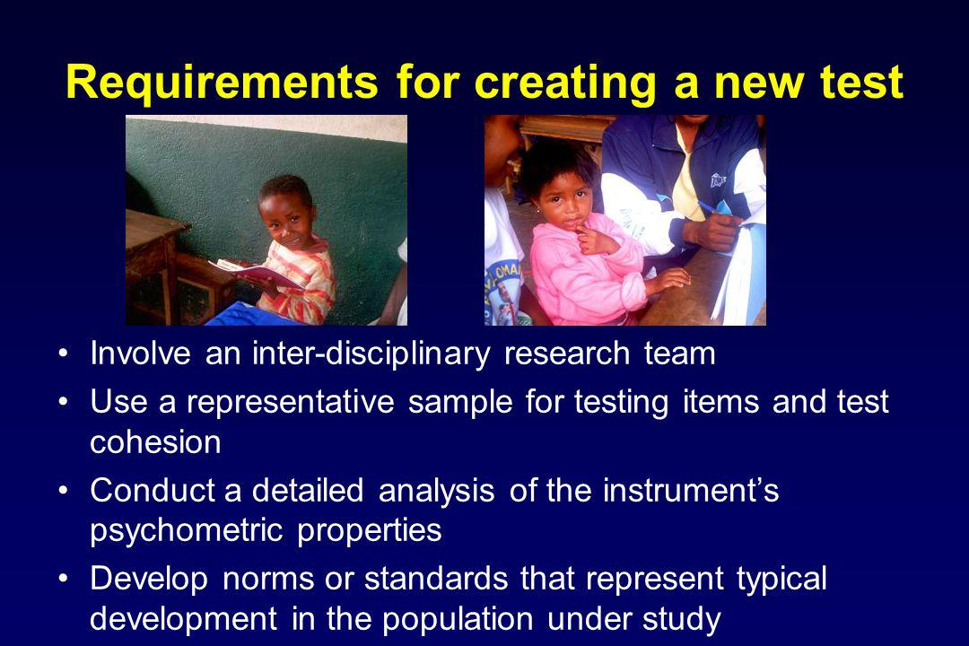 Requirements for creating a new test