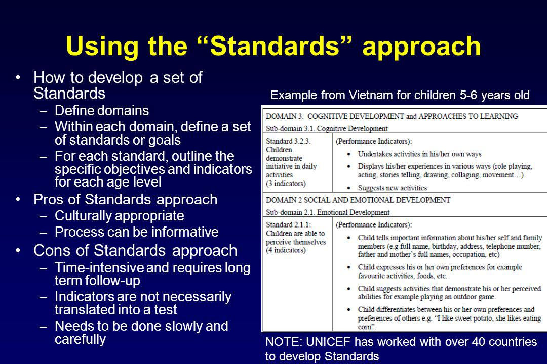 Using the Standards approach