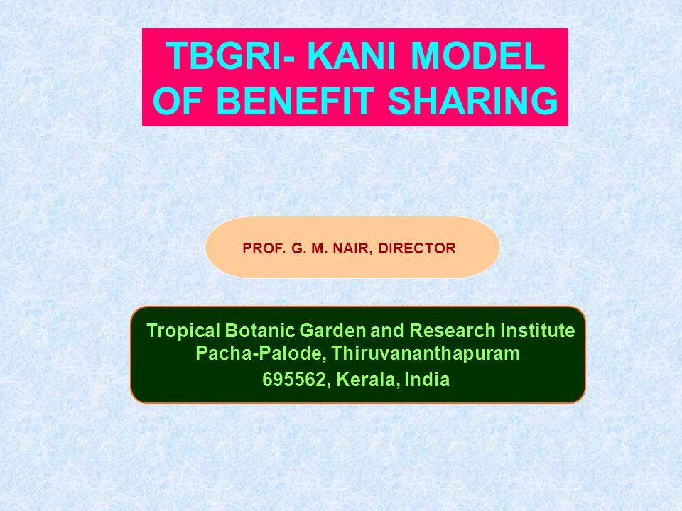 TBGRI- KANI MODEL OF BENEFIT SHARING