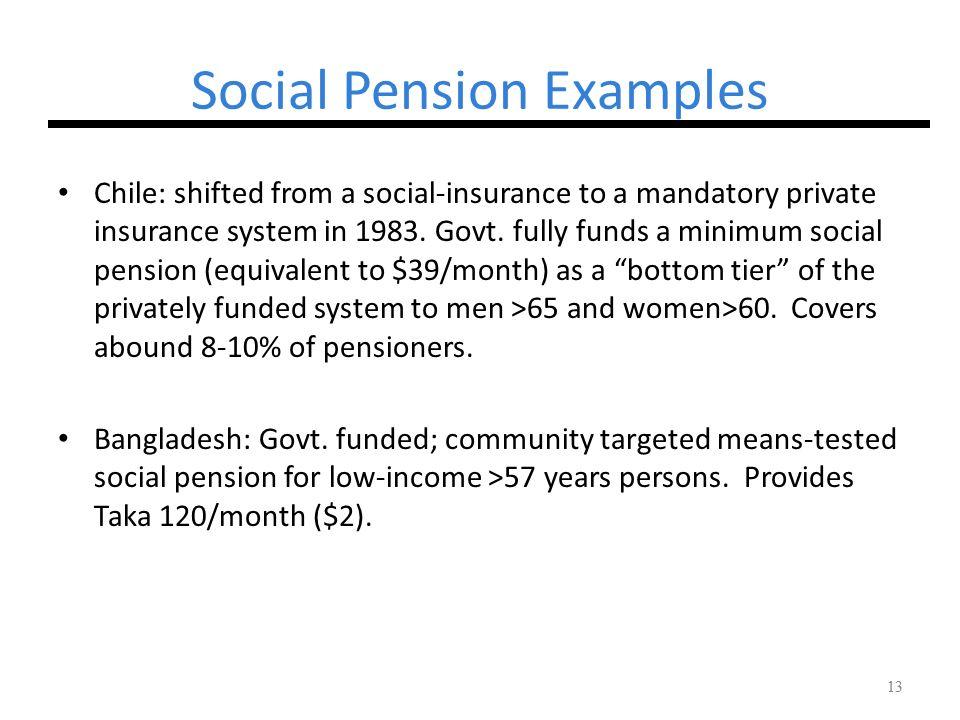 Social Pension Examples