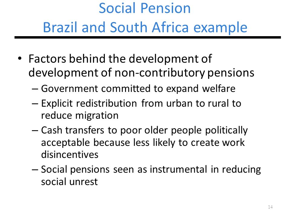 Social Pension Brazil and South Africa example