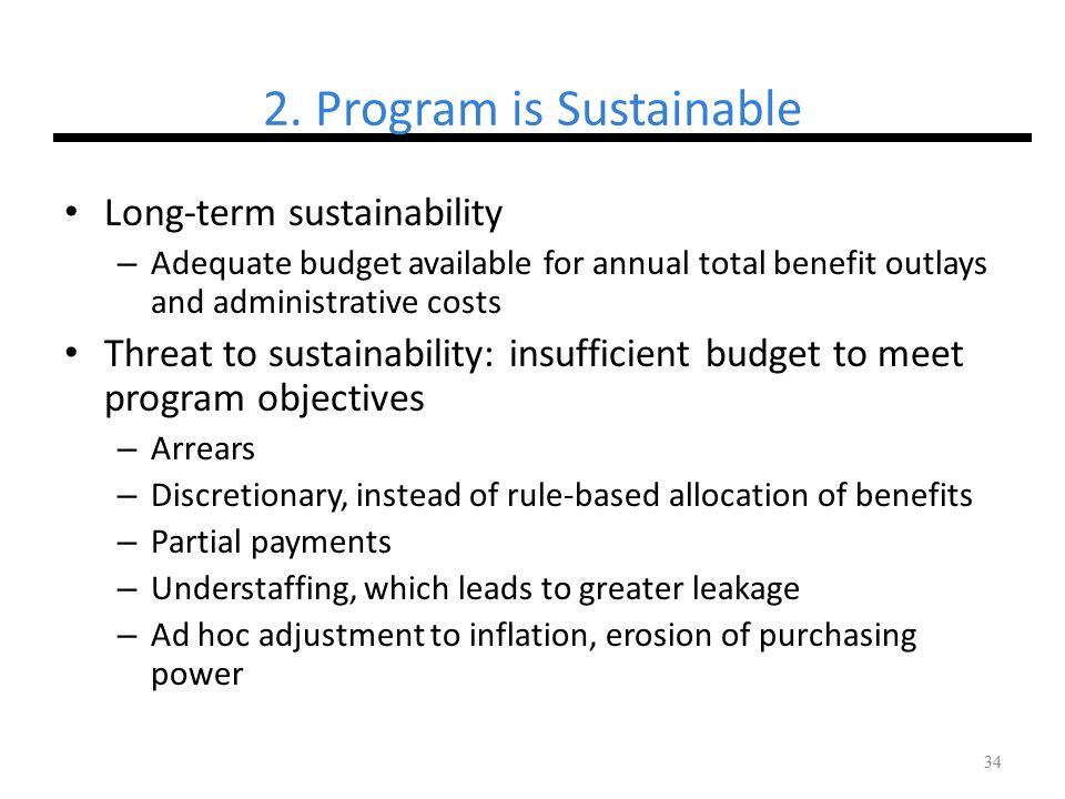 2. Program is Sustainable