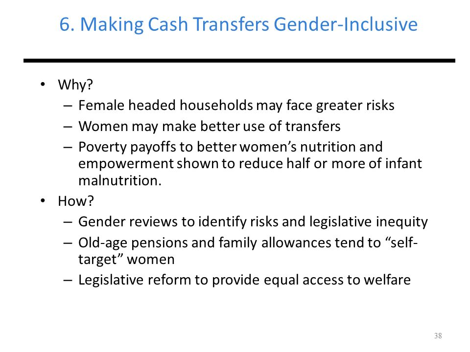 6. Making Cash Transfers Gender-Inclusive