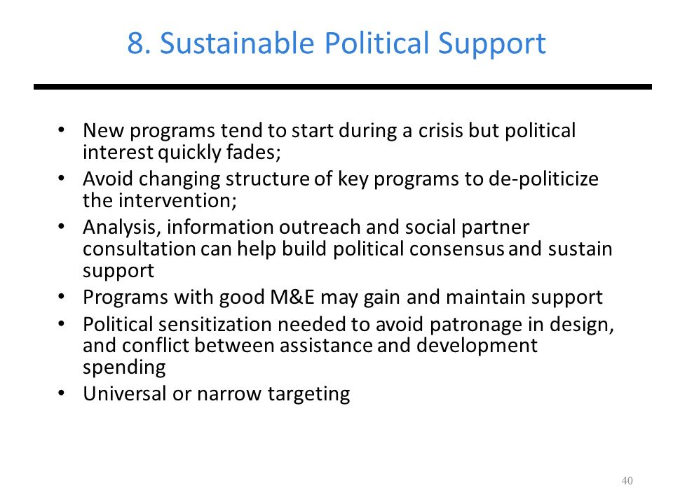 8. Sustainable Political Support