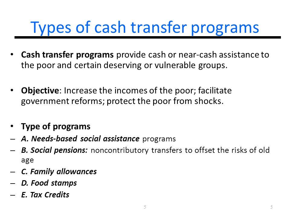 Types of cash transfer programs