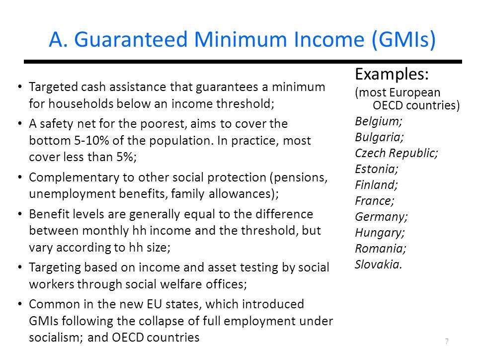 A. Guaranteed Minimum Income (GMIs)