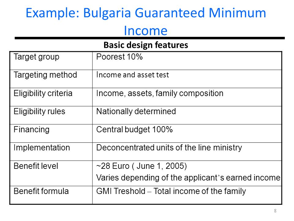 Example: Bulgaria Guaranteed Minimum Income Basic design features