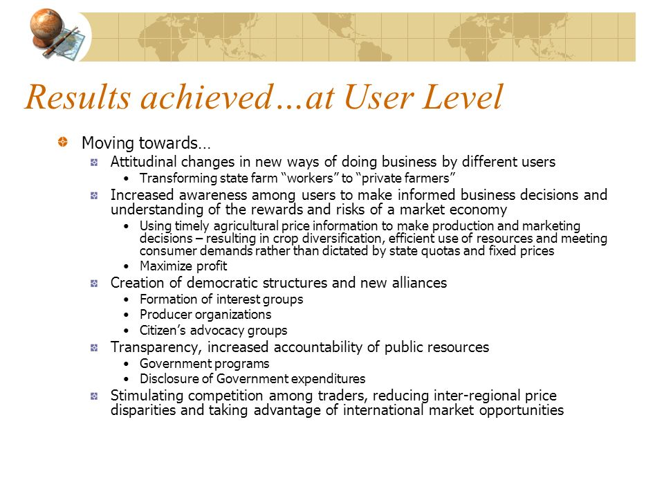 Results achieved…at User Level
