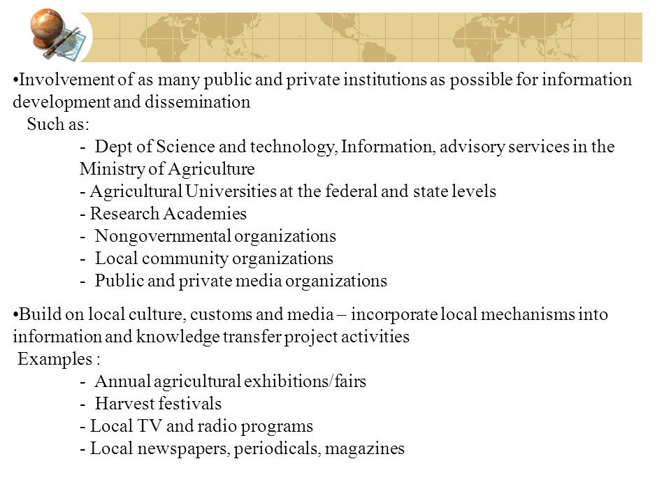 - Agricultural Universities at the federal and state levels