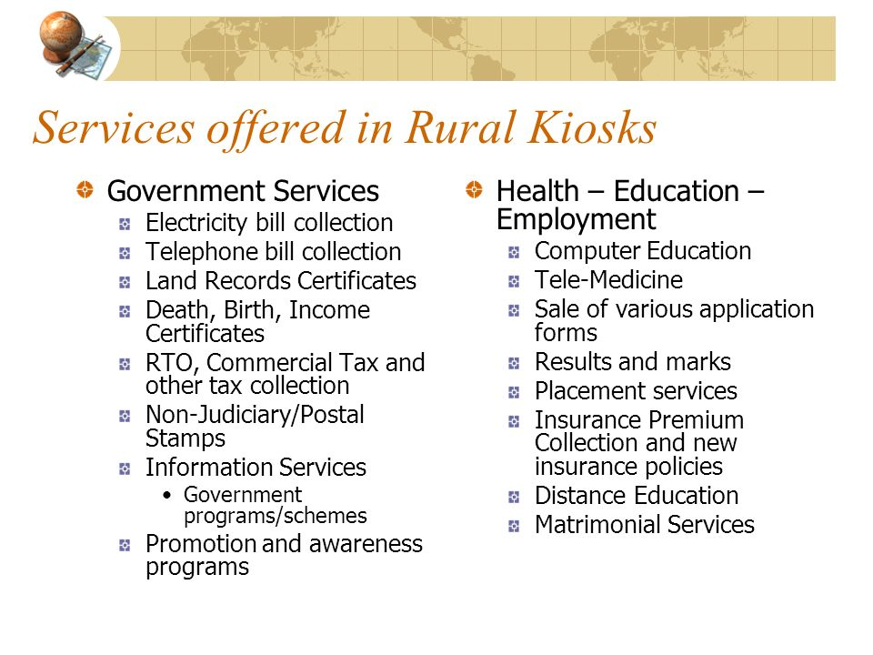 Services offered in Rural Kiosks