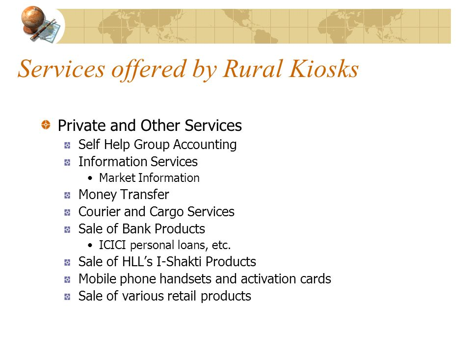 Services offered by Rural Kiosks