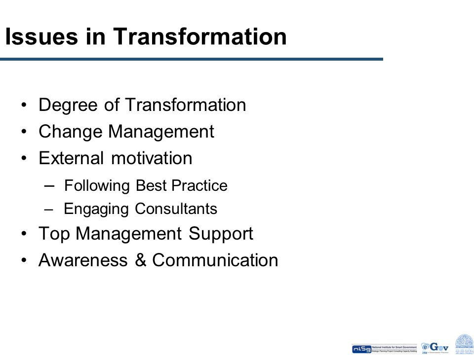 Issues in Transformation