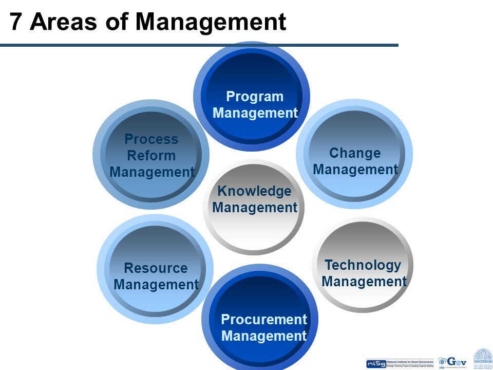7 Areas of Management Program Management Process Change Reform
