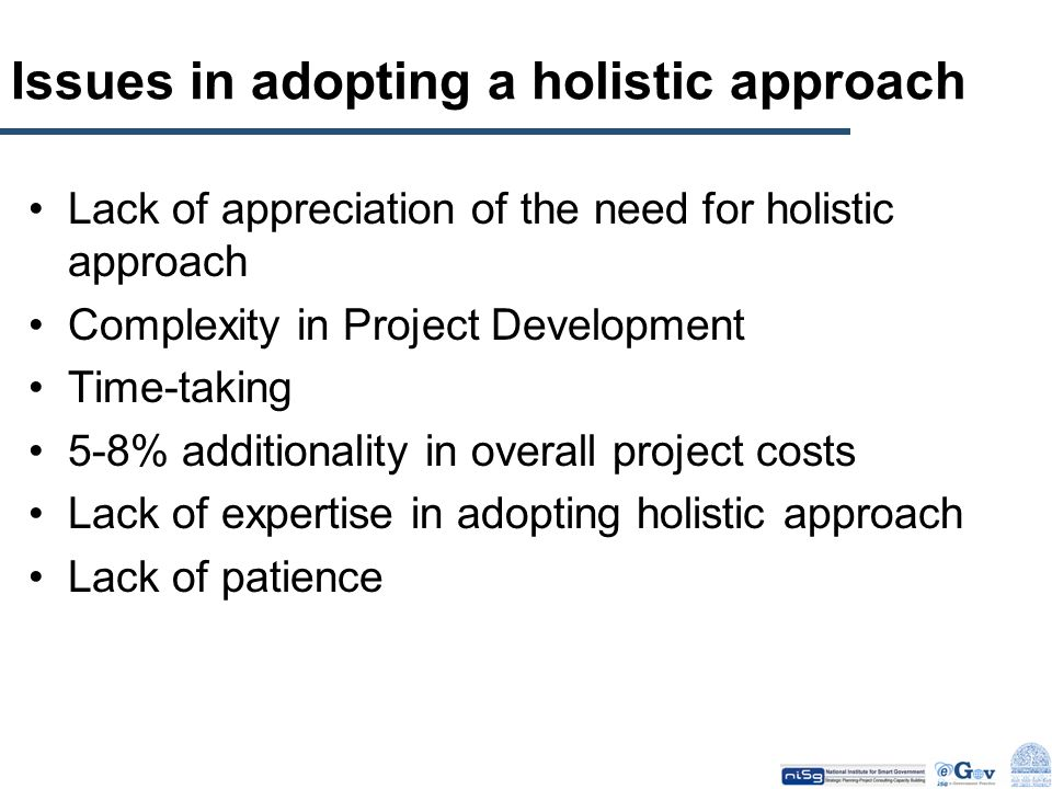 Issues in adopting a holistic approach