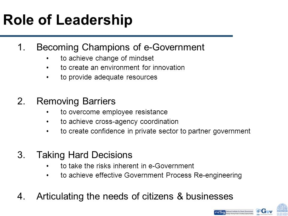 Role of Leadership Becoming Champions of e-Government