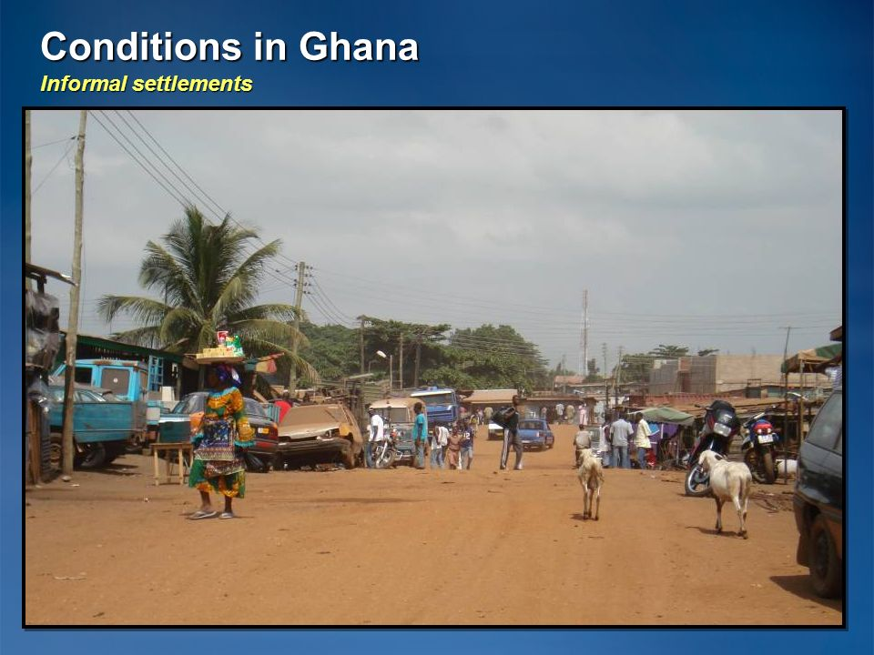 Conditions in Ghana Informal settlements 20