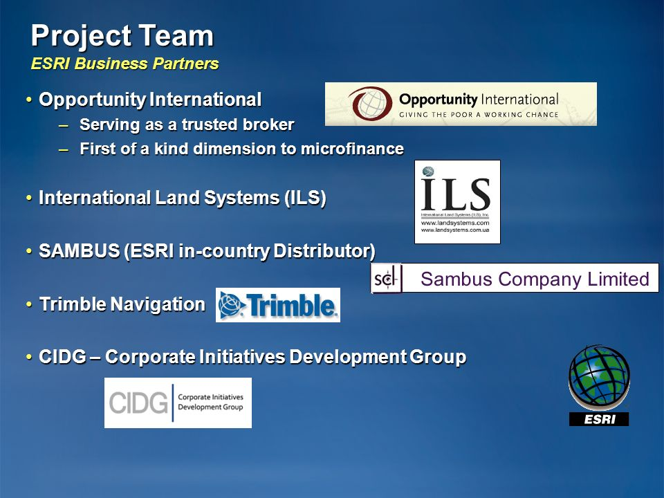 Project Team ESRI Business Partners