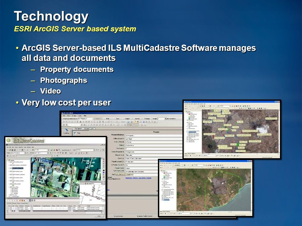Technology ESRI ArcGIS Server based system