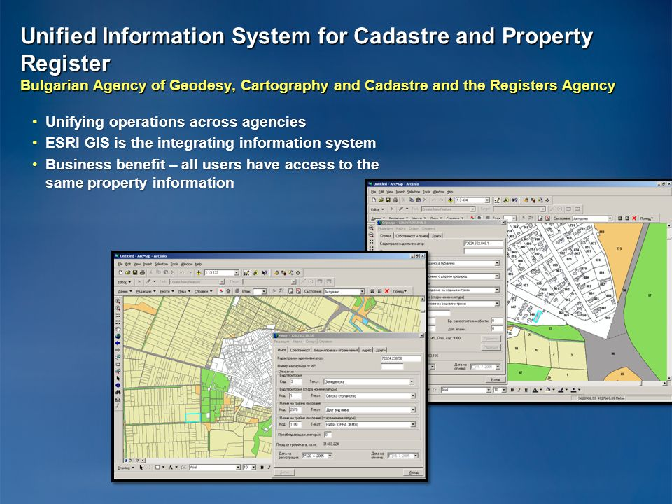 Unified Information System for Cadastre and Property Register Bulgarian Agency of Geodesy, Cartography and Cadastre and the Registers Agency