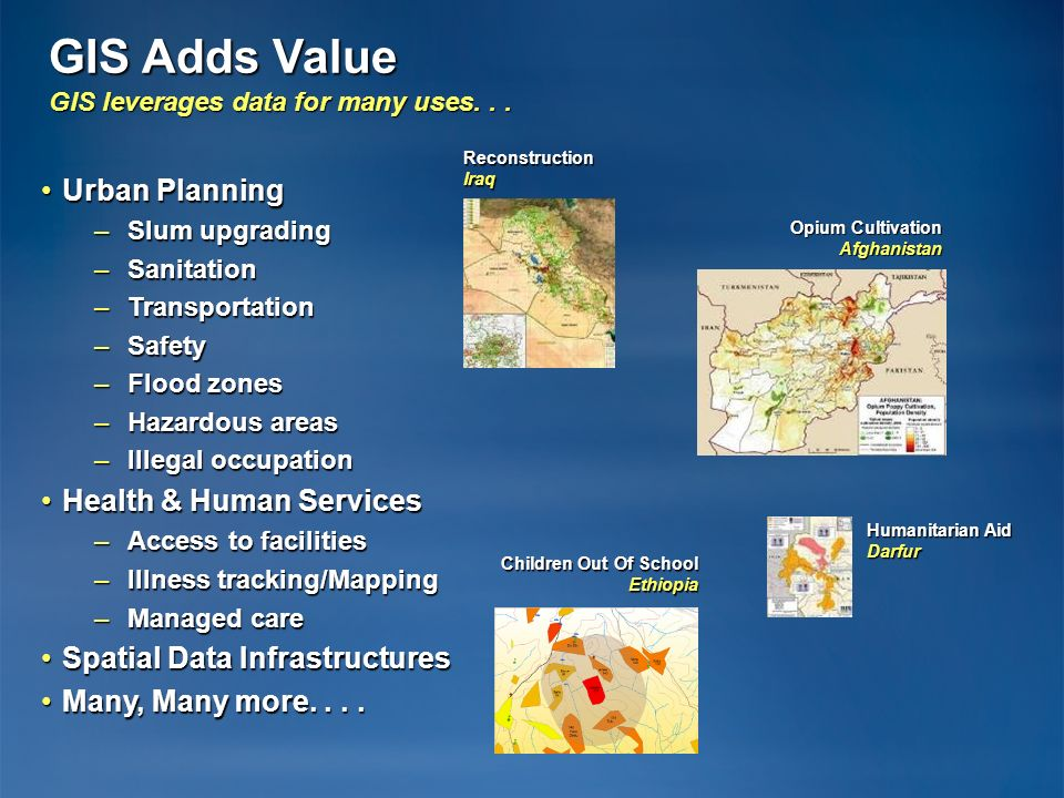 GIS Adds Value GIS leverages data for many uses. . .