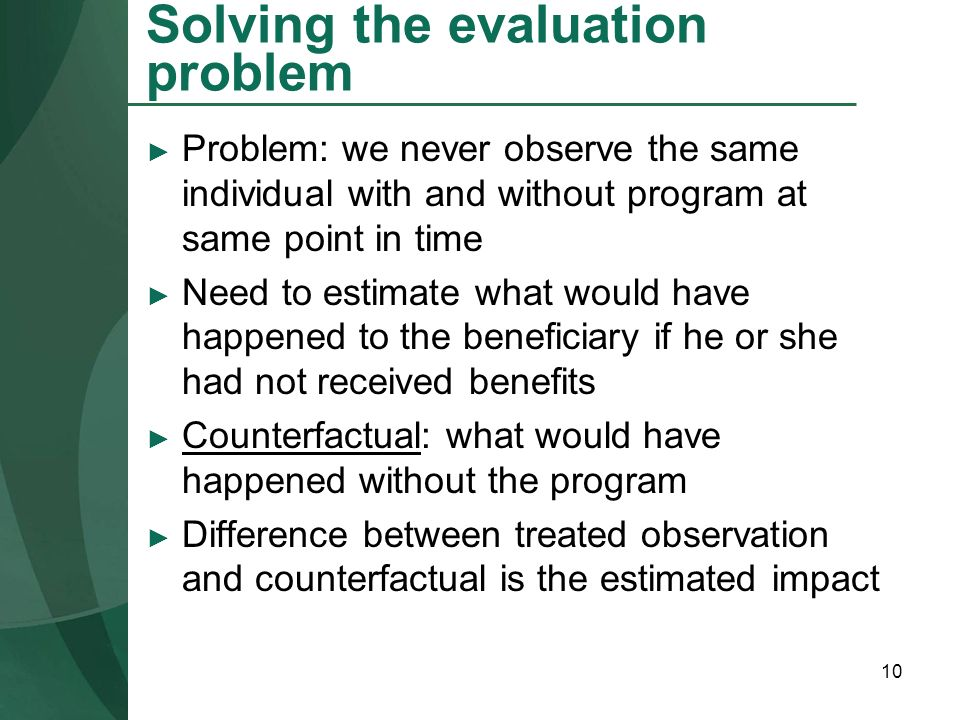 Solving the evaluation problem