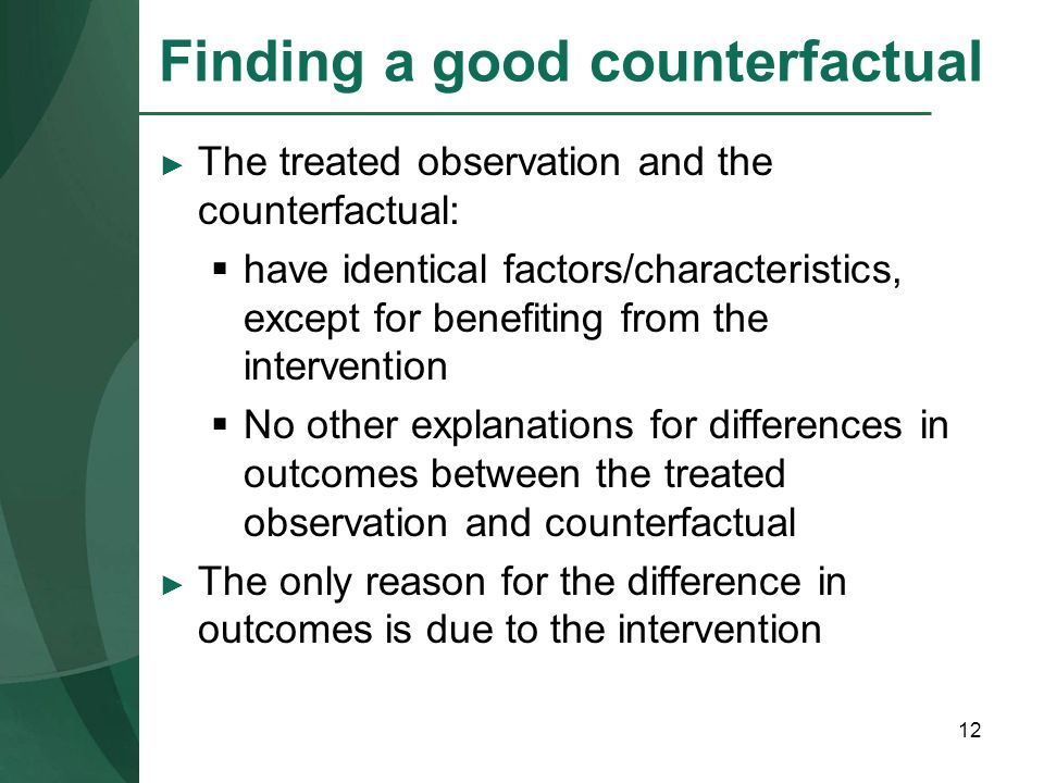 Finding a good counterfactual