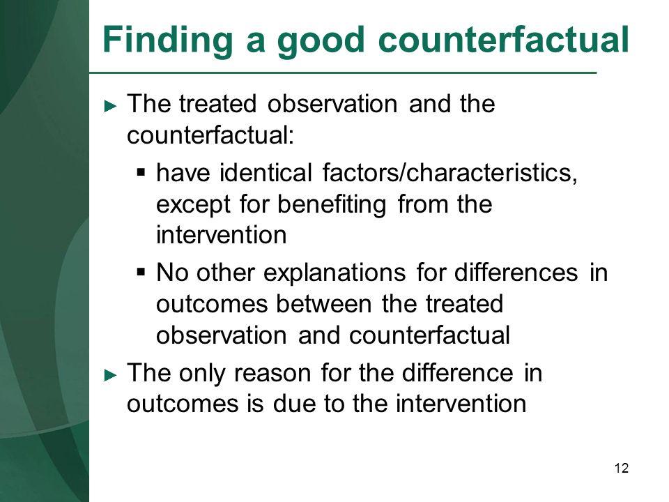 Finding a good counterfactual