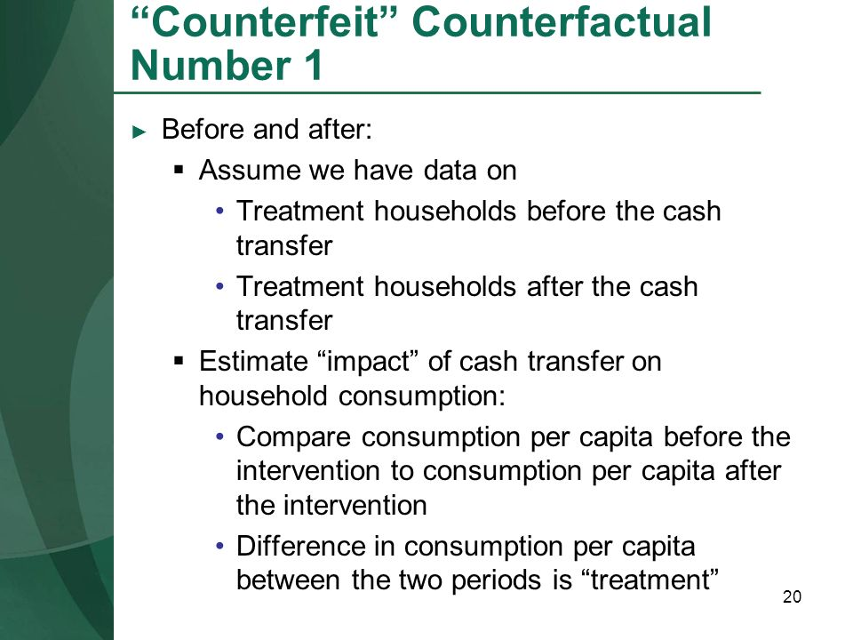 Counterfeit Counterfactual Number 1