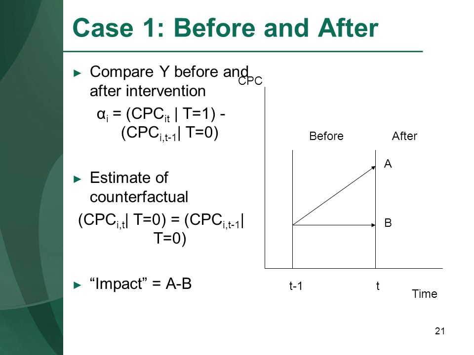 Case 1: Before and After Compare Y before and after intervention