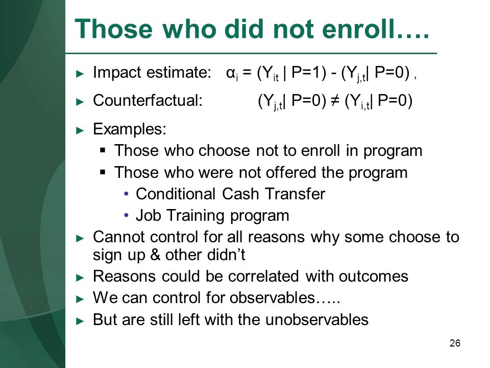 Those who did not enroll….