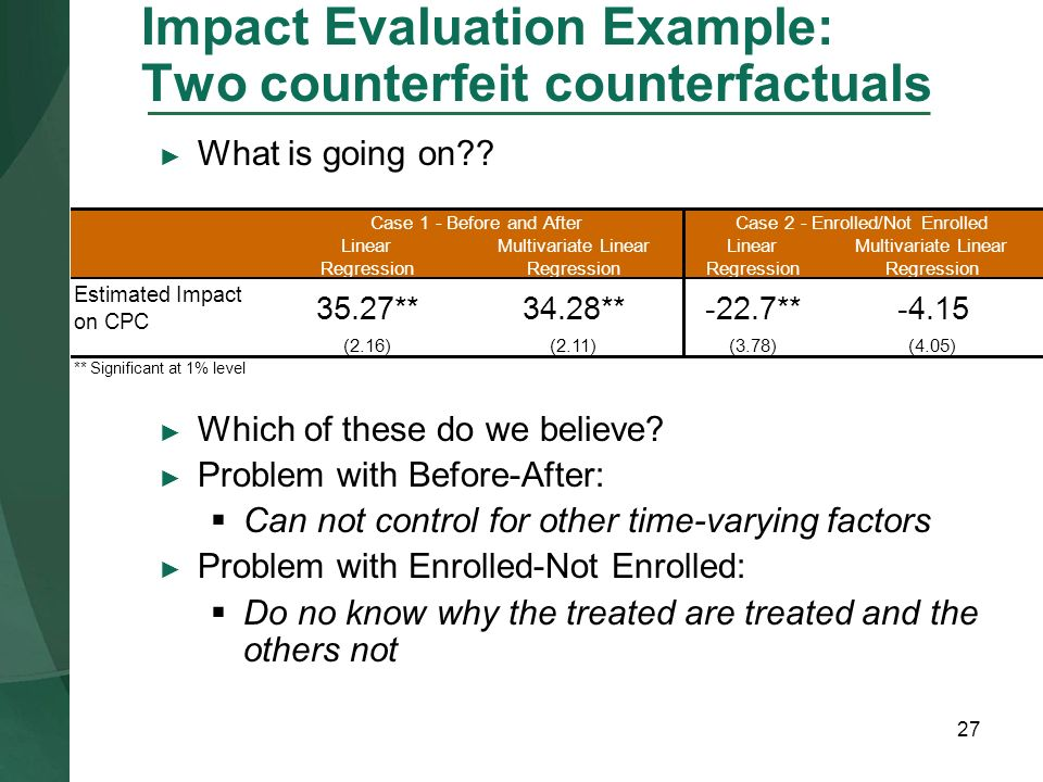 Impact Evaluation Example: Two counterfeit counterfactuals